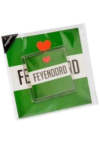 Feyenoord Wenskaart feyenoord met magneet: groen/wit