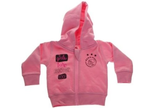 Ajax  Baby sweatvest ajax roze: girls love soccer