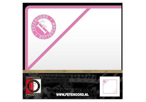 Feyenoord Baby handdoek feyenoord hooded wit/roze: 75x75 cm