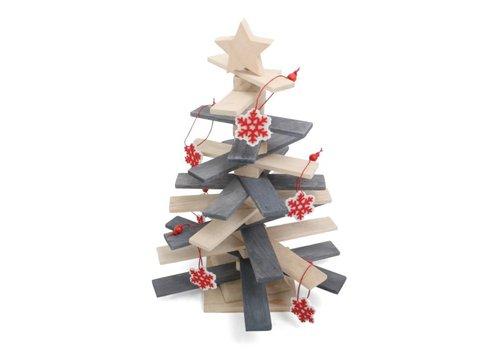 Houten kerstboom met ster