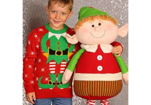 Gebreide  kersttrui kerstelf-kindertrui