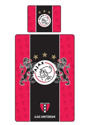 AJAX  Dekbed ajax rood/zwart leeuwen 140x200/60x70 cm