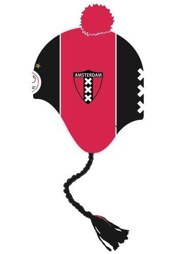 Muts ajax junior zwart/rood met flappen
