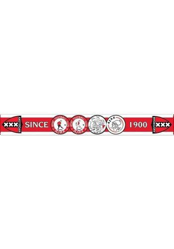 AJAX  Sjaal ajax rood/wit 4-logo`s