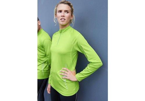 Proact Damessportshirt met korte rits en lange mouw