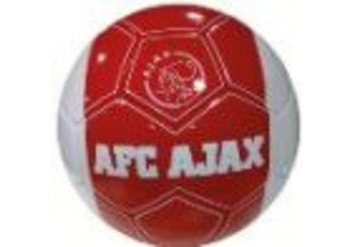 Ajax  Bal ajax leer groot wit met rode baan