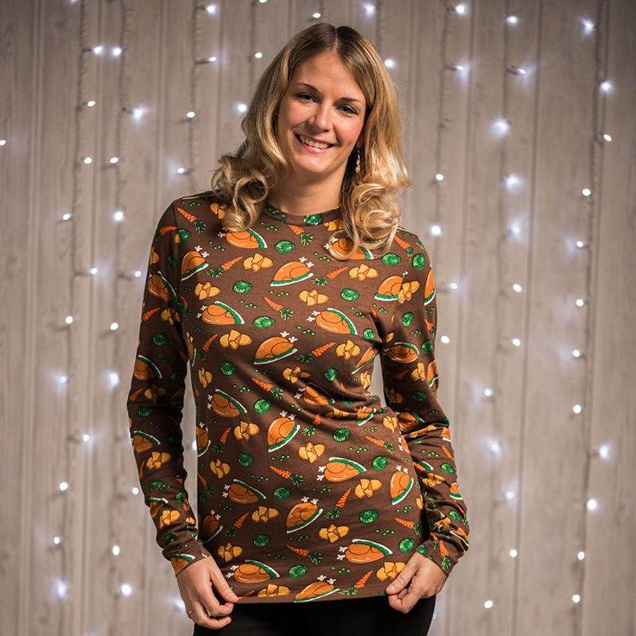 Kerstshirt met leuke prints damesmodel