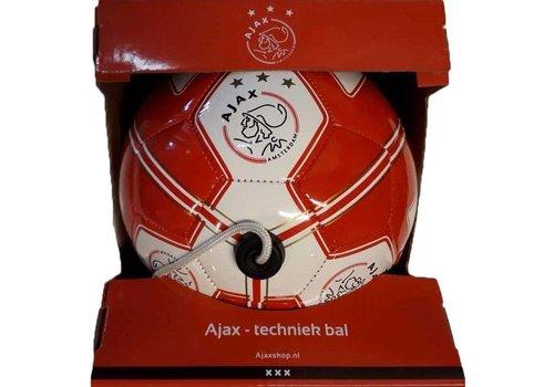 Ajax  Bal ajax leer middel rood/wit techniek