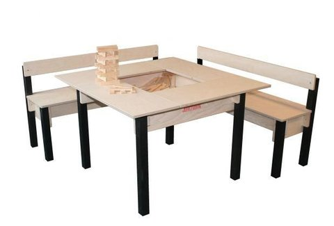 Opberg-speeltafel met 2 zitbanken (licht kleurverschil)