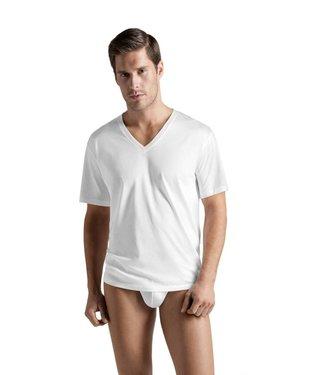 Cotton Sporty Shirt V-hals Wit
