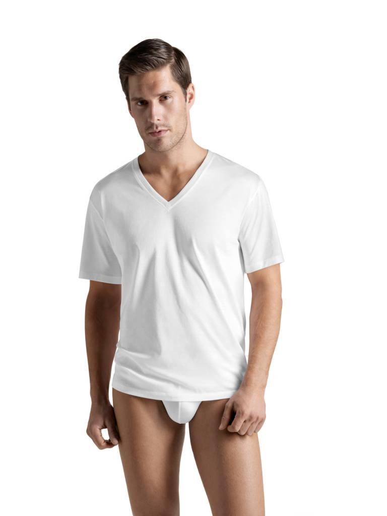Cotton sporty men s shirt v neck white hanro of for White v neck shirt mens