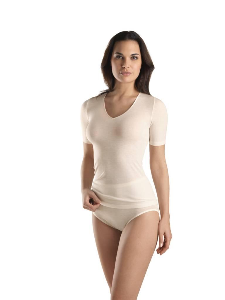 woolen silk ladies t shirt v neck hanro of switzerland shop