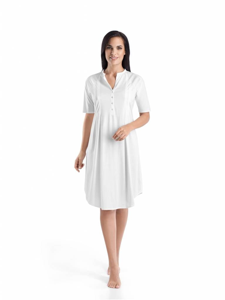 Cotton deluxe short sleeve nightdress hanro of for Hanro touch feeling t shirt bra