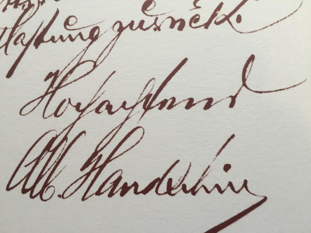 Original Signature Albert Handschin Dating From 1922