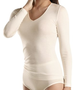 Woolen Silk Long Sleeve V-Neck