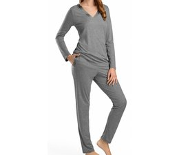 Ivy Long Sleeve Pyjama Set Stone (076197)
