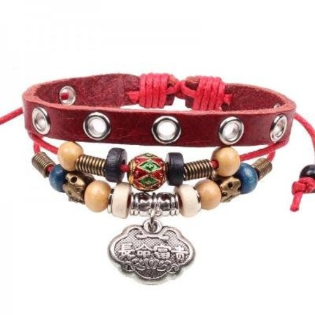 Stoere leren armband rood 3 in 1