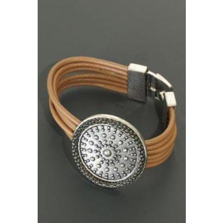 Armband leder met grote applicatie