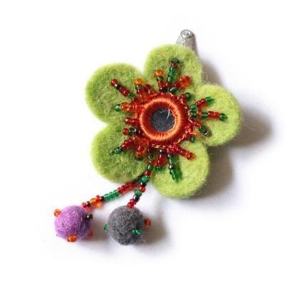 Cute Factory haarknipje bloem groen