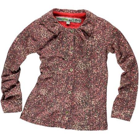 Moodstreet stretch blouse roze panterprint