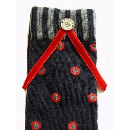 Bampidano kousen grey red dots