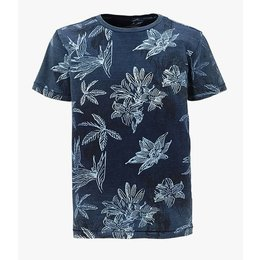 Petrol Industries shirt vintage dark denim blue flowers