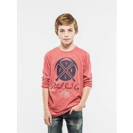 Petrol Industries superzachte longsleeve met dubbelprint faded red