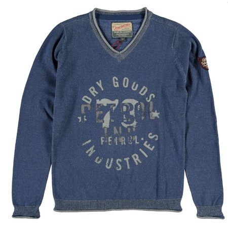 Petrol Industries fine knit sweater denim blue