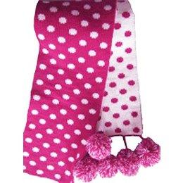 Bonnie Doon sjaal roze met witte stippen