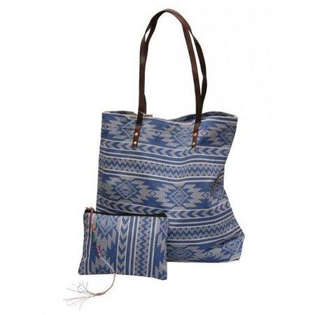 Jozemiek Go2Beach shopper / tassen set Aztek blue