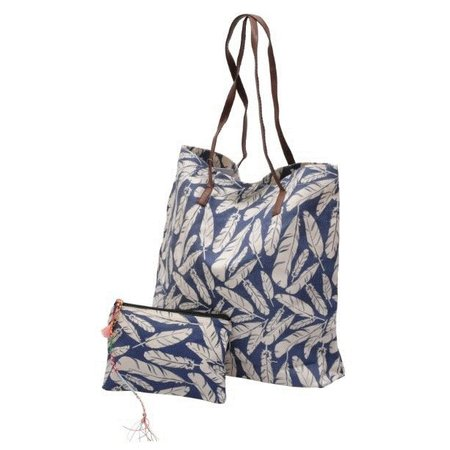 Jozemiek Go2Beach shopper / tassen set blue feathers
