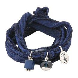 Jozemiek RAKHI zijden wikkelarmband Monaco blue