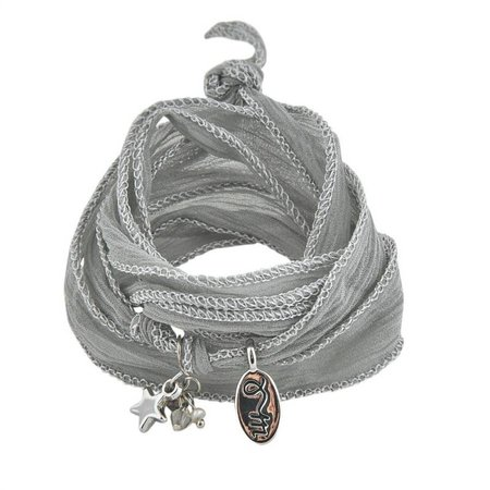 Jozemiek RAKHI zijden wikkelarmband Paloma grey
