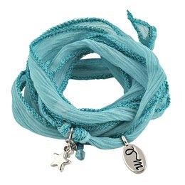 Jozemiek RAKHI zijden wikkelarmband turquoise