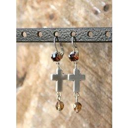 zilveren oorbellen Swarovski Cross