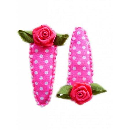 haarknipje fel roze met witte stip en roze roosje