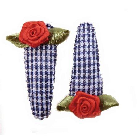 haarknipje blauw ruitje rood roosje