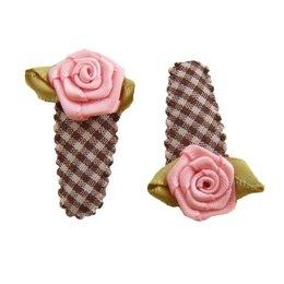 Hippe Knipjes haarknipje baby choco ruitje roze roosje