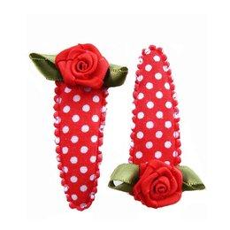 haarknipje polkadot rood met rood roosje