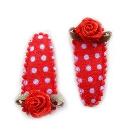 haarknipje baby pokkadot rood met roosje