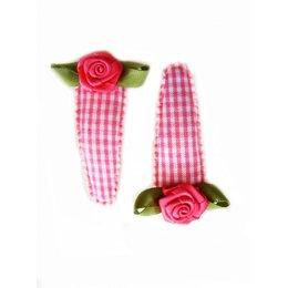 Hippe Knipjes haarknipje roze ruitje roze roosje