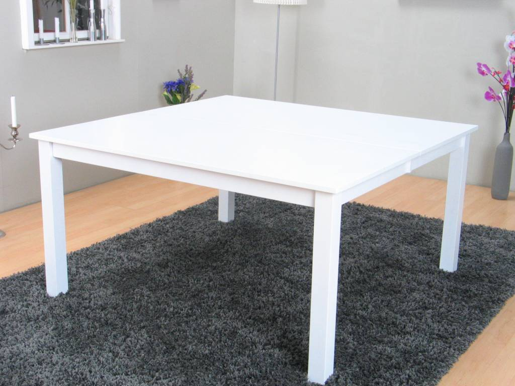 8 Person Square Table: White Square Dining Table (8 People)