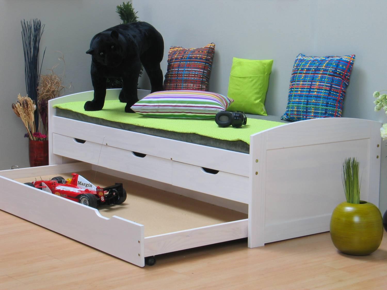 Eenpersoonsbed met laden grenen wit tienerbed meubeltrefpunt altijd thuis - Bed kind met mezzanine kantoor ...