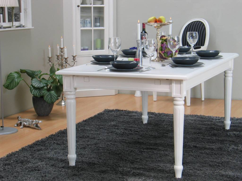barok landelijke tafel wit mozart eetkamertafel