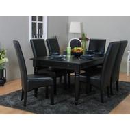 Eettafel zwart Mozart + eetkamerstoelen zwart Giessen