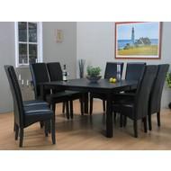 Eettafel zwart Sirius + eetkamerstoelen zwart Giessen