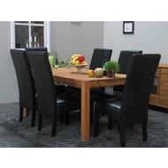 Eettafel eiken Mark 90x160 + 6 zwarte stoelen Giessen