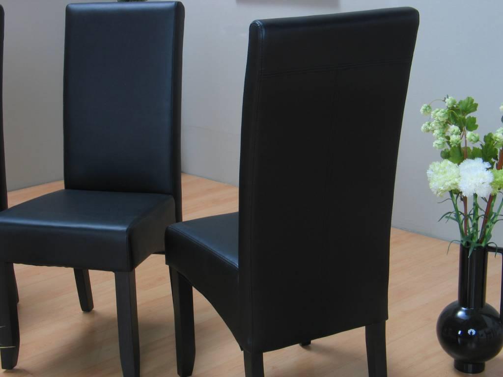 Eetkamer eiken Mark 90 x 180 met 6 zwarte stoelen