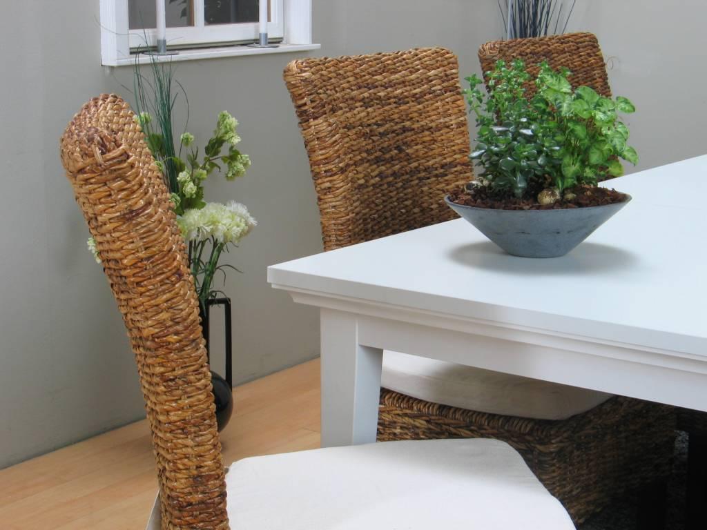 Home Landelijke witte eetkamer Venetie + eetkamerstoelen bananenblad