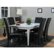 Eetkamer landelijk wit Venetie + eetkamerstoelen zwart Giessen